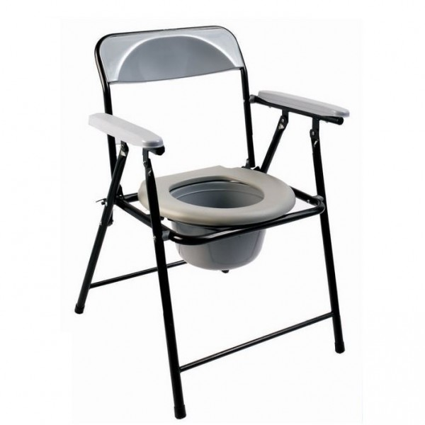 Lightweight folding commode with top loading pot ECCOM1