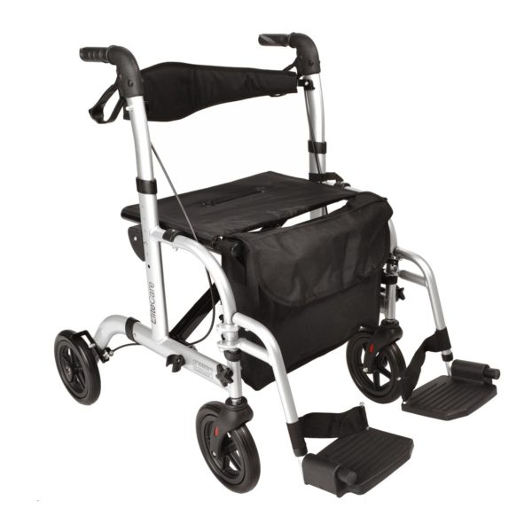 Hybrid rollator wheelchair 2 in 1