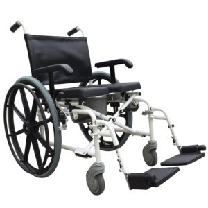 Self propel wheeled shower commode